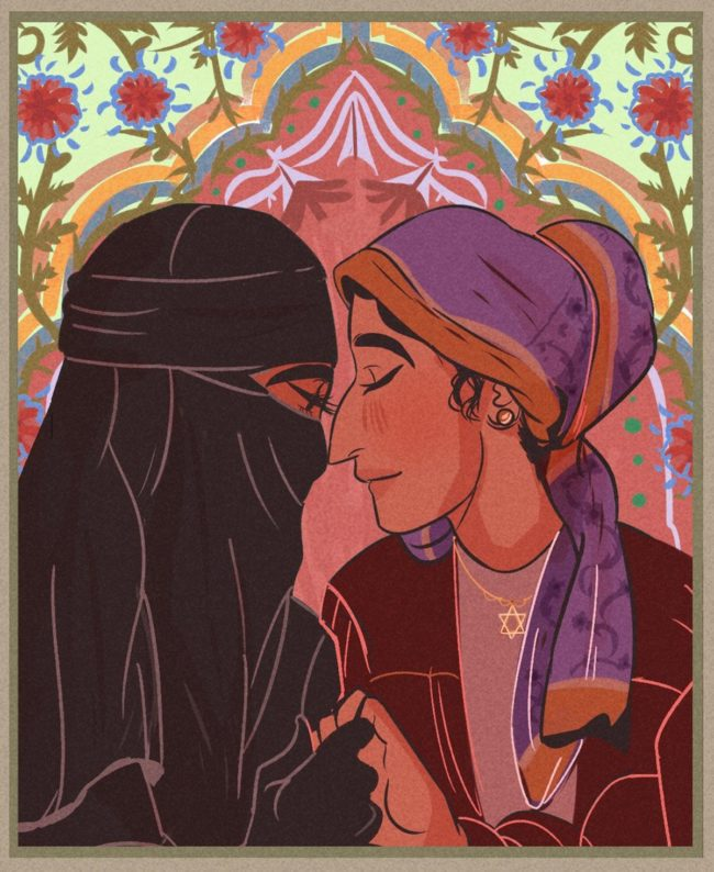 Gay art by Caleb, showing a Muslim woman and a Jewish woman