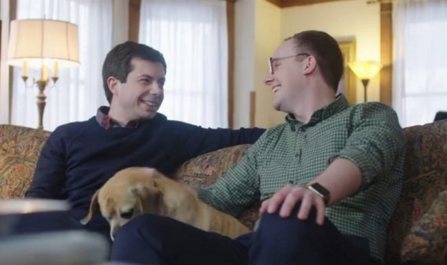 Pete Buttigieg with his husband Chasten Glezman in the candidate's first presidential campaign video