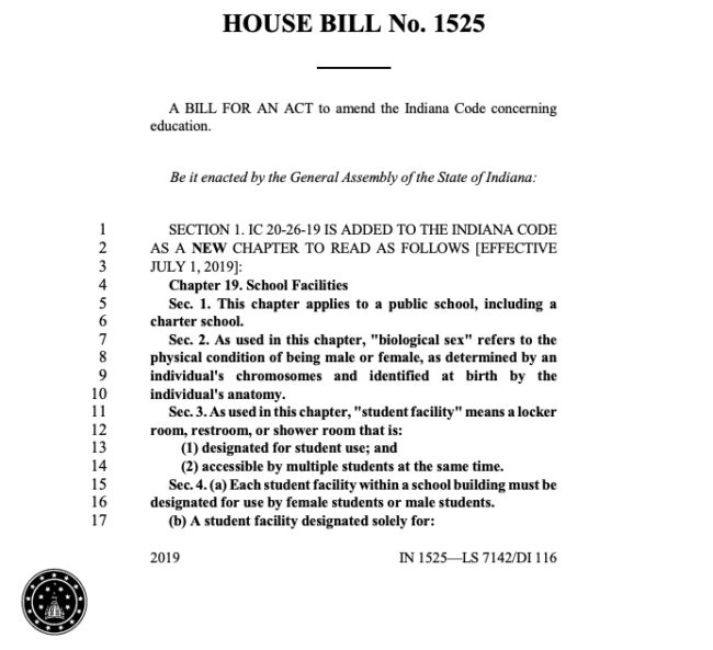 Indiana's house bill 1525 banning trans students from using facilities matching their gender identity.
