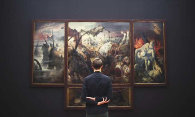 Man at Art Gallery Museum Exhibition