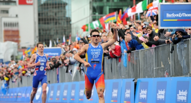 In a release from the International Triathlon Union, Javier Gomez of Spain wins, in front of Jonathan Brownlee of Great Britain, the Grand Final of the 2012 ITU World Triathlon Series on October 21, 2012 in Auckland, New Zealand. (Janos Schmidt/ITU via Getty)