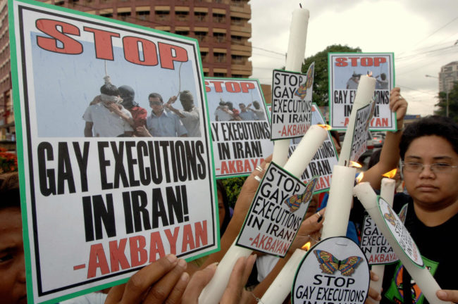 People protesting against Iran's anti-gay laws