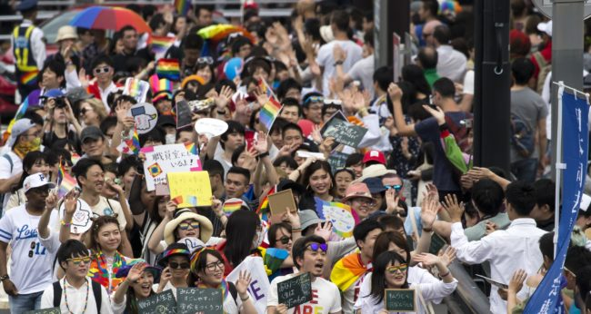 Attendees take part in the Tokyo Rainbow Pride Parade on May 6, 2018 in Tokyo, Japan. The LGBT community and supporters marched down Shibuya and Harajuku areas on the final day of the Tokyo Rainbow Pride 2018 event to support lesbian, gay, bisexual and transgender people