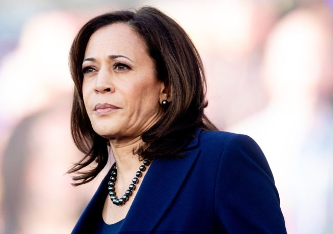 California Senator Kamala Harris, who spoke out against the attack on Jussie Smollett looks on during a rally launching her presidential campaign on January 27, 2019 in Oakland, California