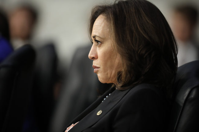 Kamala Harris, who has defended the right of transgender students to use their bathroom of choice, listens to testimony from U.S. Attorney General nominee William Barr during his confirmation hearing January 15, 2019 in Washington, DC