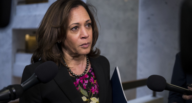 Kamala Harris has come under fire for her record on transgender rights (Zach Gibson/Getty)