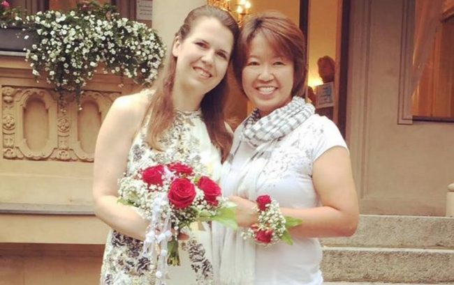 Lesbian couple Ai Nakajima—a Japan citizen—and her German partner Kristina Baumann got married in Germany in 2018