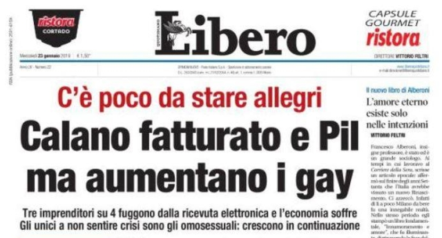 "Italian newspaper Libero published a headline on its front page that was widely condemned as ""homophobic."""