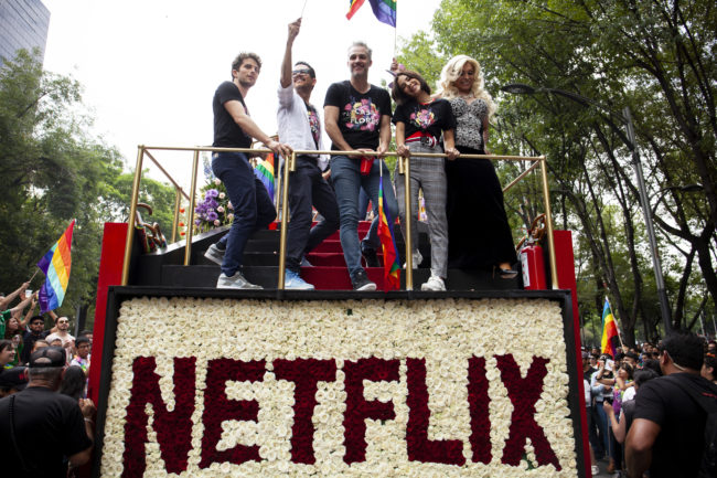 A Pride parade float by Netflix, which has changed the location of its OBX production