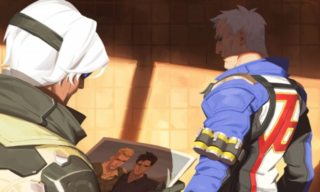 Overwatch character Ana looks at a picture of Soldier 76 with Vincent