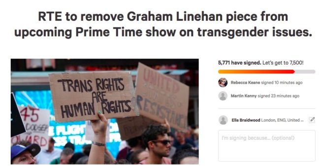 Change.org petition to remove Graham Linehan from RTE show