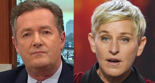 Piers Morgan has slammed Ellen DeGeneres on Twitter for her support of Kevin Hart (ITV and Kevin Winter/Getty)