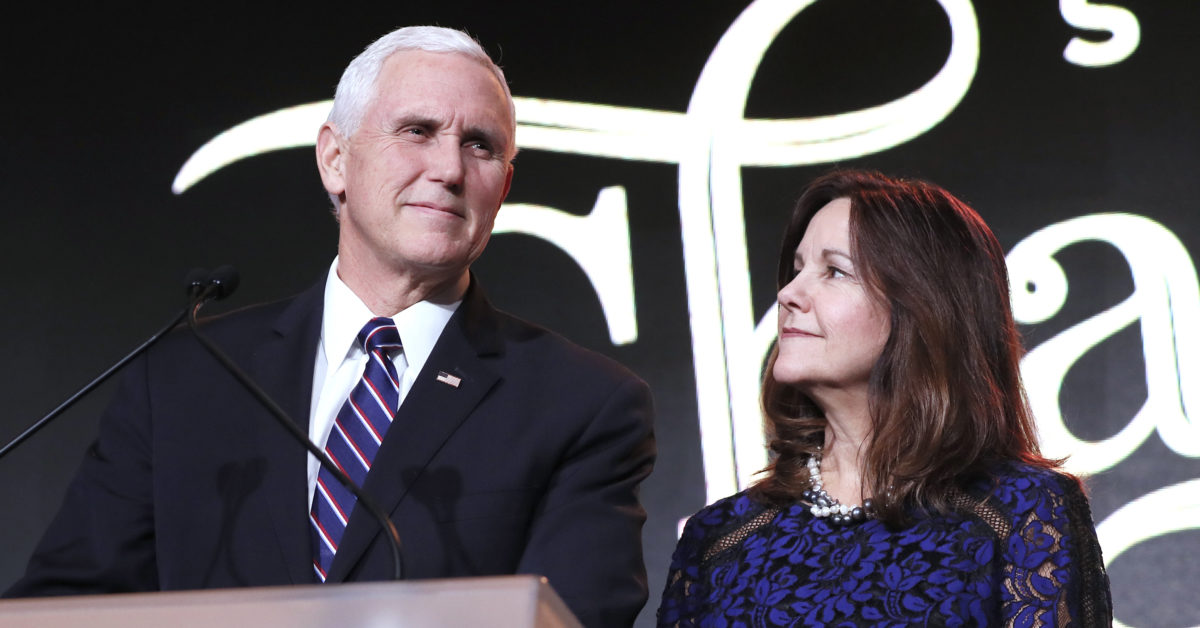 "Vice President Mike Pence called criticism of his wife Karen Pence's decisionto teach at an anti-LGBT school ""deeply offensive."" (Paul Morigi/Getty Images for Save the Storks)"