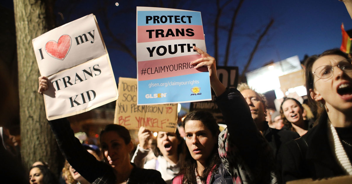 A third of transgender students across 10 states reported attempting suicide in the past year.  (Spencer Platt/Getty)