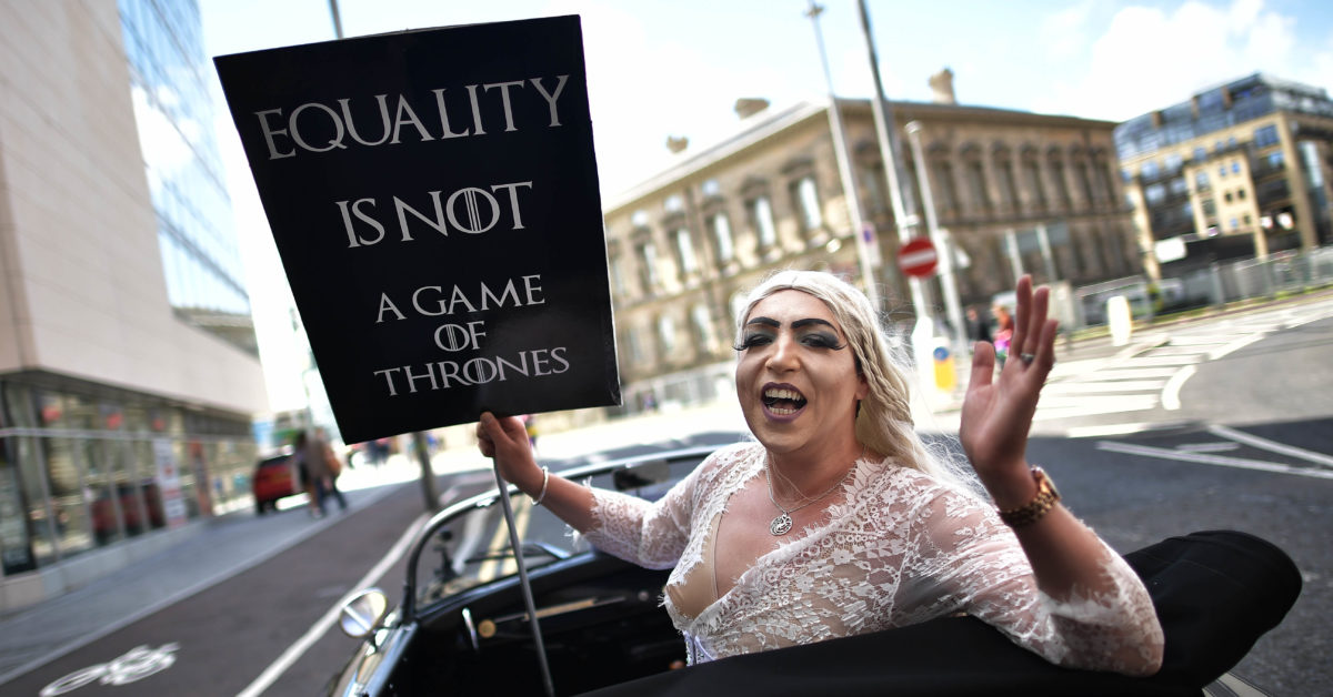 A drag queen takes part in Belfast's gay pride protesting Northern Ireland's ban on same sex marriage. (Charles McQuillan/Getty)