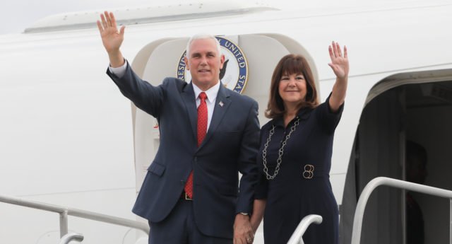 Karen Pence has begun working as an art teacher at a Christian school with a strict policy on LGBT students and staff. (Sergio Lima/AFP/Getty)