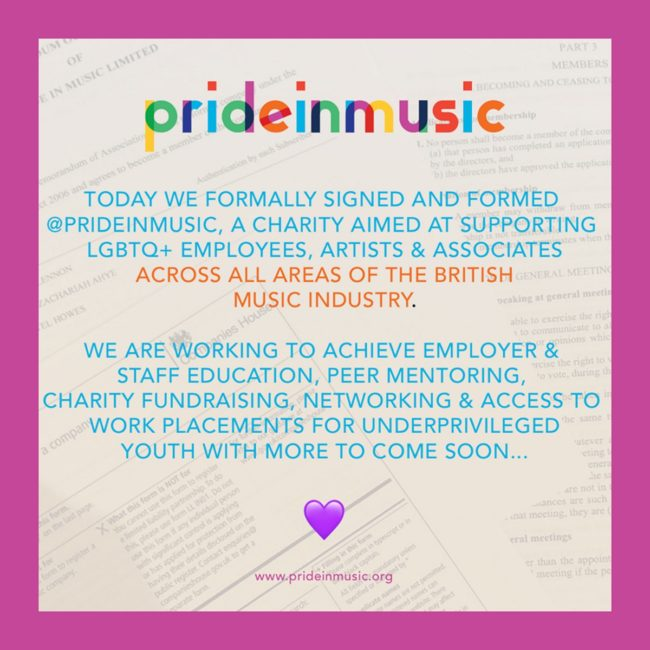 A Facebook post by new LGBT+ music network Pride in Music