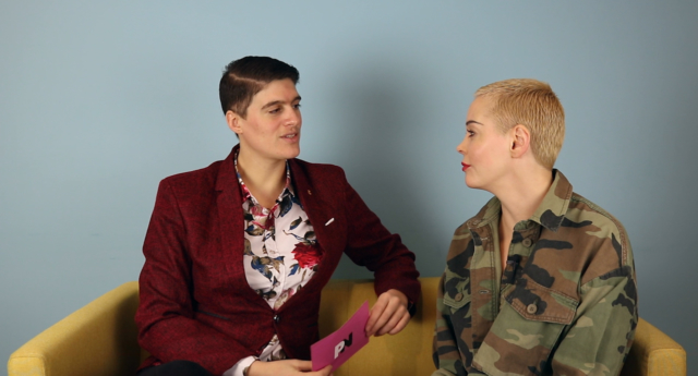 Rain Dove (left) and Rose McGowan. (PinkNews)