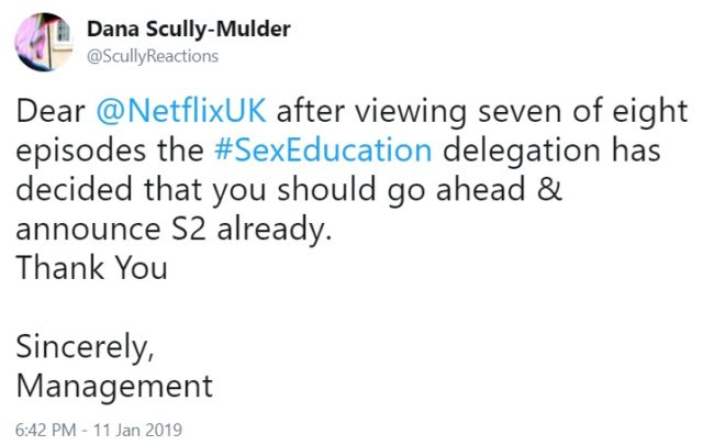 Fans of Sex Education were already ready for a second season. (Twitter/@scullyreactions)