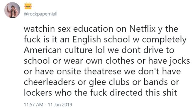 Many felt the school was too American for its British setting. (Twitter/@rockpaperniall)