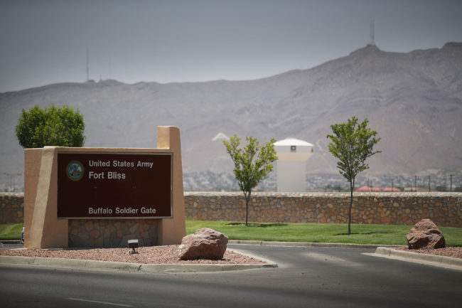 An entrance to Fort Bliss, where Anthony Michael Bowden served before allegedly murdering transgender woman Erykah Tijerina