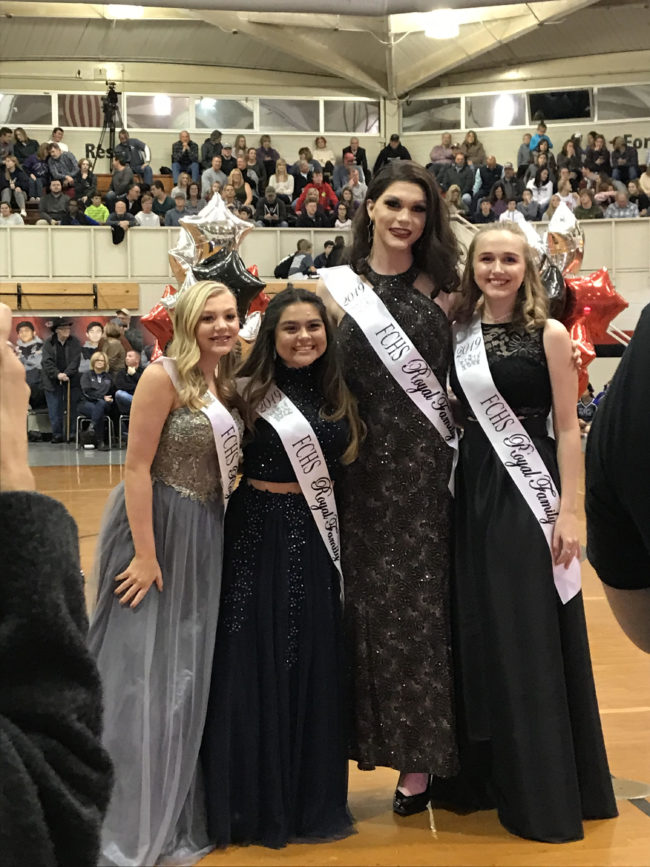 Trans homecoming queen Charlie Baum with the other girls on the school's royal court