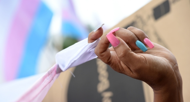 A marcher has their fingernails painted in the pink and blue transgender community colors at the Los Angeles Pride March, June 11, 2017 in Hollywood, California.    (ROBYN BECK/AFP/Getty)