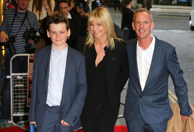 "Woody Cook, Zoe Ball and Norman Cook attend the UK Gala screening of ""Man Up"" at The Curzon Mayfair on May 13, 2015 in London, England"