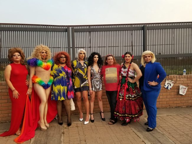 Photo of the drag queens taking part in the border wall protest.