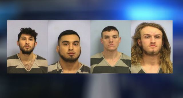 (L-R) Frank Macias, 22, Miguel Macias, 20, Quinn O'Connor, 19, and Kolby Monell, 21 were arrested over the attack (Austin Police Department)