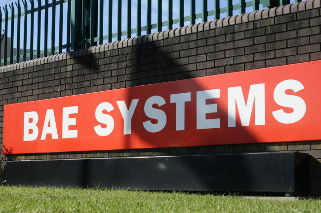 The BAE Systems logo is pictured at the BAE Systems site at Brough in East Yorkshire, north east England, on September 27, 2011.