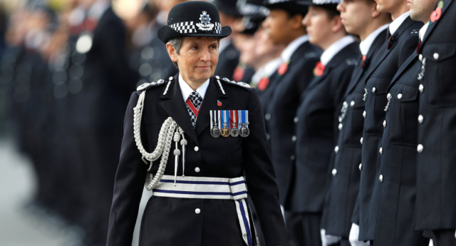 Metropolitan Police Commissioner Cressida Dick inspect police cadets at the Metropolitan Police Service Passing Out Parade to mark the graduation of 182 new recruits from the Metropolitan Police Academy, at Hendon, northwest London on November 3, 2017. (PETER NICHOLLS/AFP/Getty)