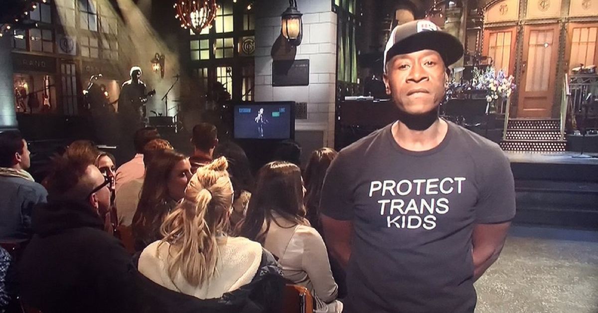 Don Cheadle wears 'protect trans kids' t-shirt on SNL