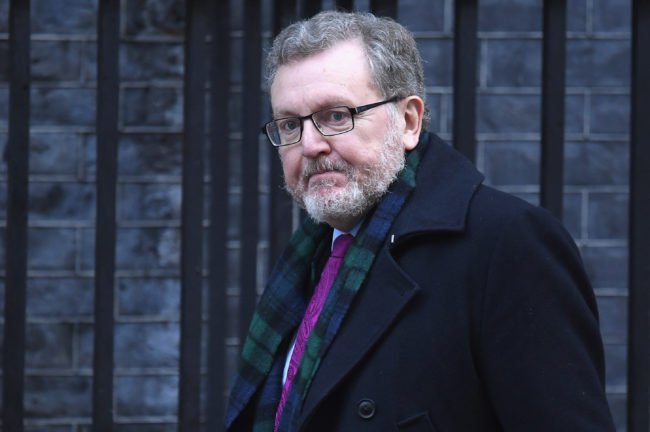 Secretary of State for Scotland David Mundell arrives at 10 Downing Street on November 13, 2018.