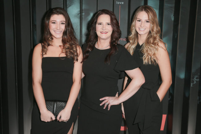"John Meehan's family. (L-R) Emily Meehan, Tonia Bales and Abigail Meehan attend the after party for Bravo's anthology series ""Dirty John"" world premiere at NeueHouse Los Angeles on November 13, 2018 in Hollywood, California."
