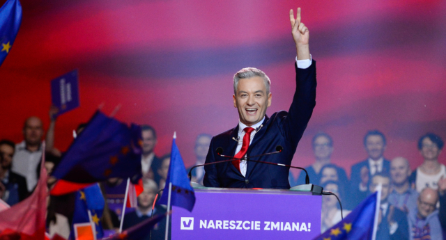 Robert Biedron greets supporters at the launch of his new political movement Wiosna (Omar Marques/Getty Images)