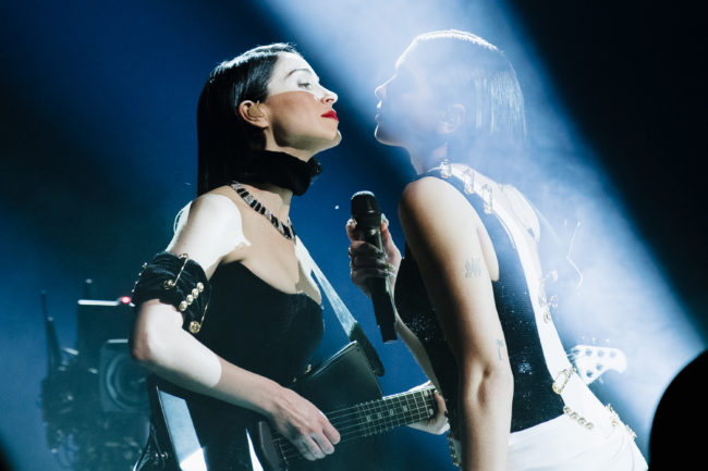 St. Vincent and Dua Lipa perform onstage at the 61st annual GRAMMY Awards.