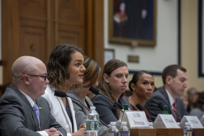 Army Captain Alivia Stehlik, one of the transgender troops speaking at the Military Personnel Subcommittee hearing on 'Transgender Service Policy.' on Capital Hill on February 27, 2019 in Washington, DC.