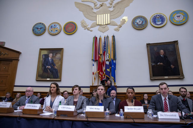"""Transgender troops Navy Lt. Commander Blake Dremann, Army Capt. Alivia Stehlik, Army Capt. Jennifer Peace, Army Staff Sgt. Patricia King, Navy Petty Officer 3rd Class Akira Wyatt, and Dr. Jesse M. Ehrenfeld, chair-elect of the American Medical Association Board of Trustees speak at the Military Personnel Subcommittee hearing on """"Transgender Service Policy."""""""