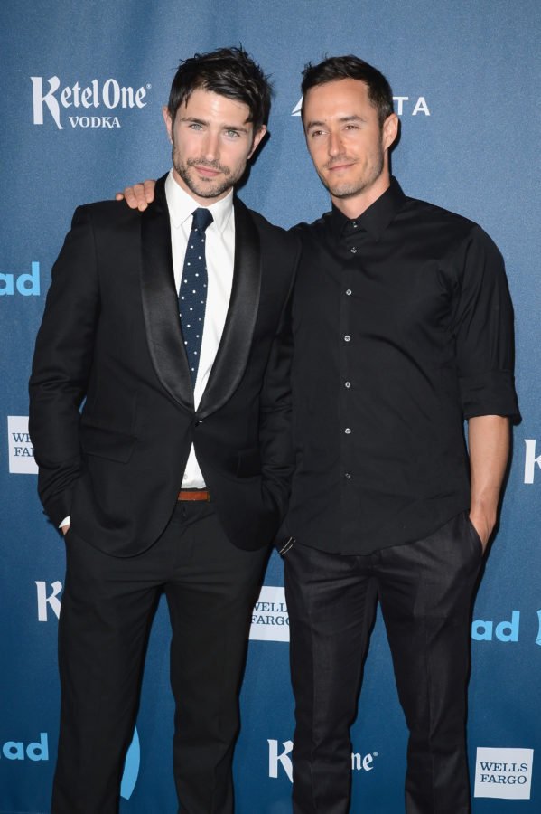 Actor Matt Dallas and Blue Hamilton arrive at the 24th Annual GLAAD Media Awards at JW Marriott Los Angeles at L.A. LIVE on April 20, 2013 in Los Angeles, California.