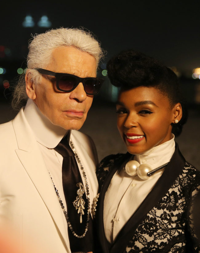 Photo of Karl Lagerfield, who has died, with Janelle Monae.