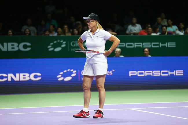 Martina Navratilova of the USA in action.