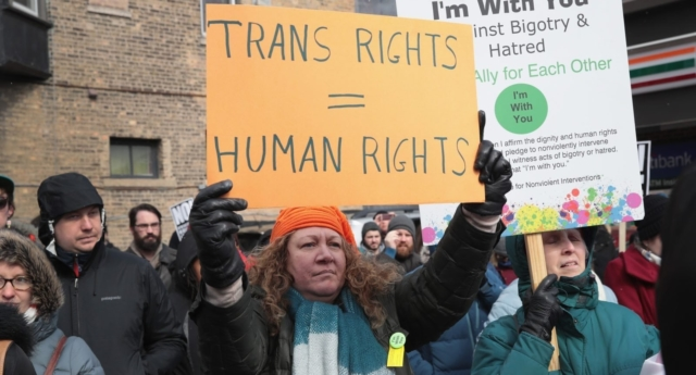 A trans rights campaigner. (Scott Olson/Getty Images)