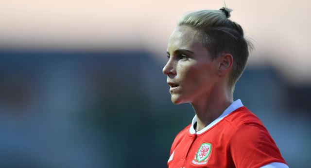 Jessica Fishlock of Wales in action during the Women's World Cup qualifier between Wales Women and England Women at Rodney Parade on August 31, 2018 in Newport, Wales. (Dan Mullan/Getty Images)