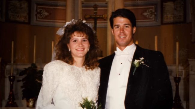 The real John Meehan and Tonia Bales on their wedding day. (Netflix)