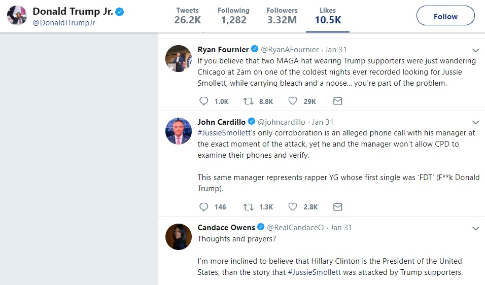 Donald Trump Jr liked tweets that rejected Jussie Smollett's account of events