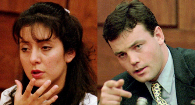 Lorena and John Bobbitt court photos shown side by side after wife cut off husband's penis. (Getty)