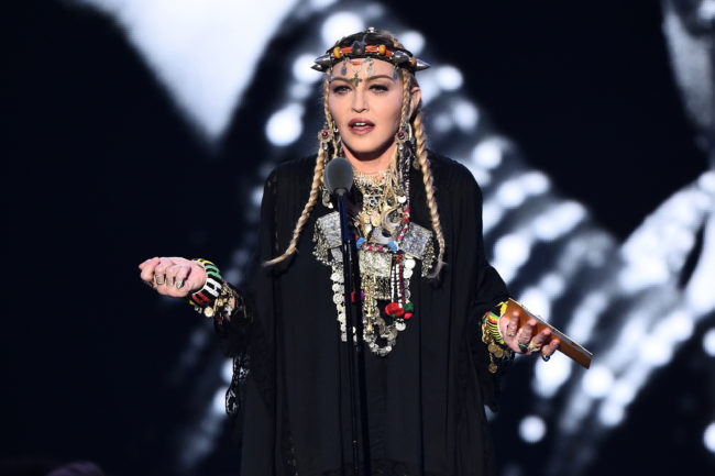 Madonna presents the award for Video of the Year onstage during the 2018 MTV Video Music Awards at Radio City Music Hall on August 20, 2018 in New York City.