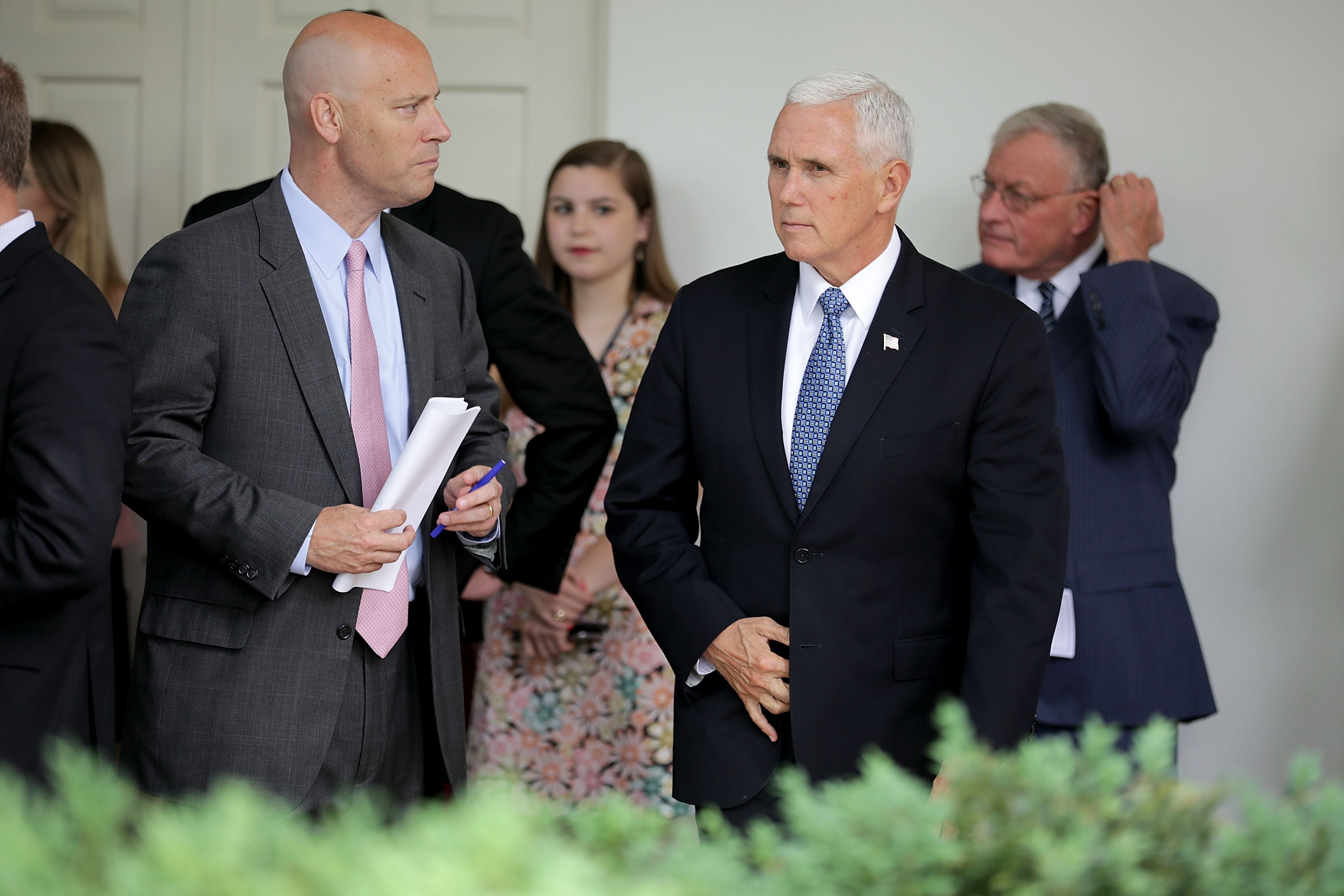 Marc Short and Vice President Mike Pence arrive for a signing ceremony for the Veterans Affairs Mission Act in the Rose Garden at the White House on June 6, 2018 in Washington, DC.