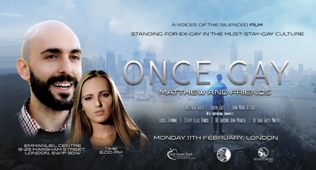The poster for the London premiere of gay cure film Once Gay.